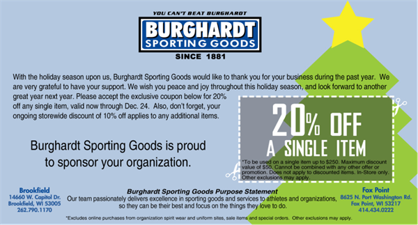 Burghardt Sporting Goods 20% Off Coupon